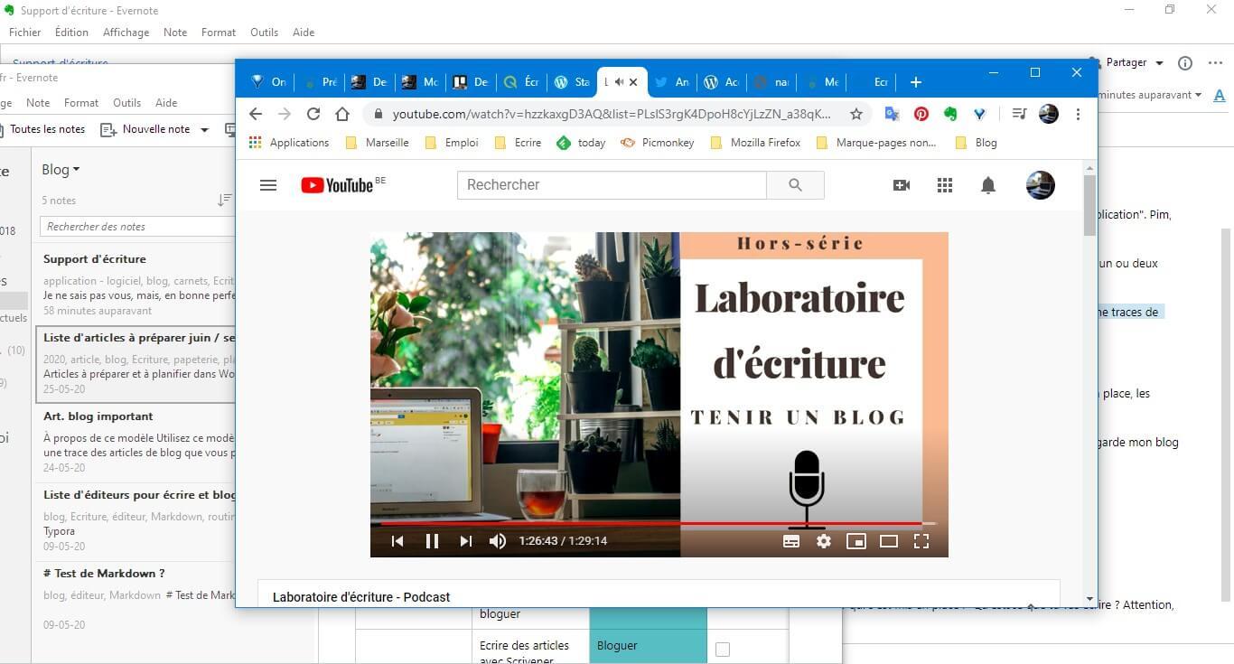 Podcast d'Élodie Lauret sur le blogging et Evernote en arrière plan
