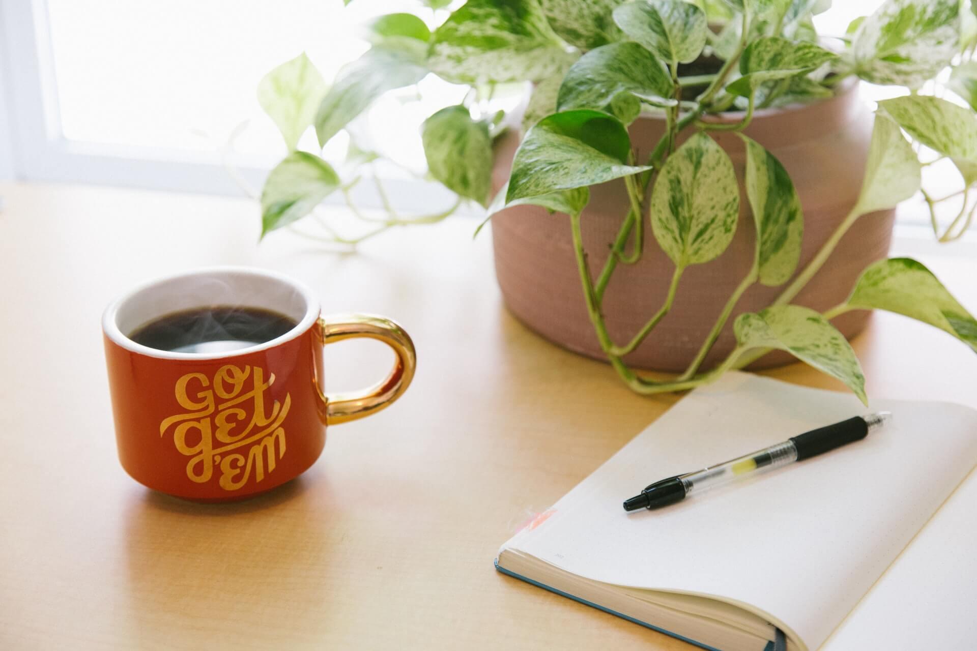 Tasse Go get them, carnet et plante - kyle-glenn-_AR74EoWdy0-unsplash