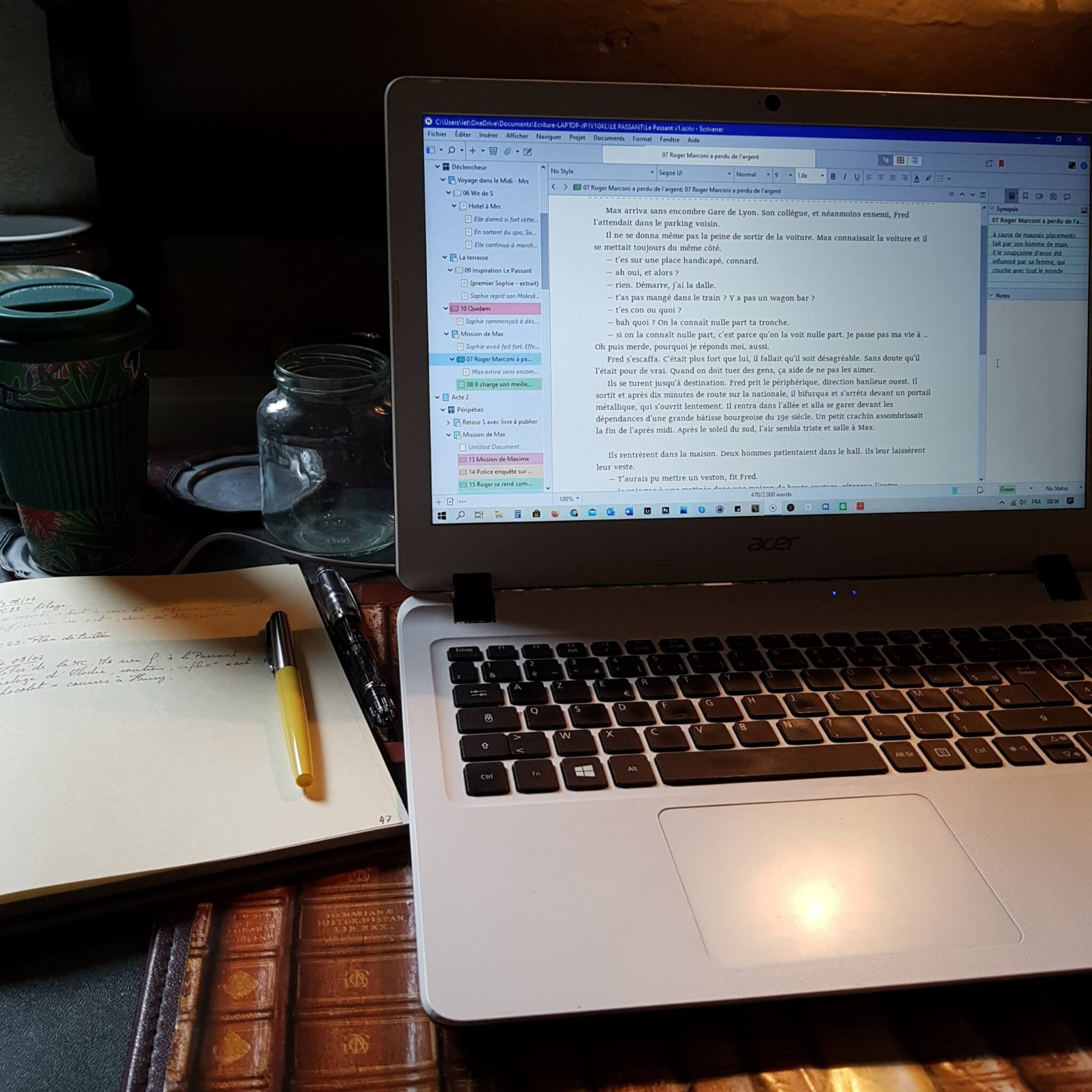 Scrivener, carnet, mes outils d'écriture en place pour le Camp Nano